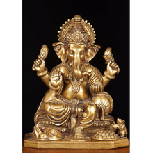 Indian Statue Ganesh Statues and Sculptures Metal Brass for sale