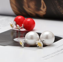 2016 top quality jewellery double-faced 925 silver sunflower pearl stud earrings