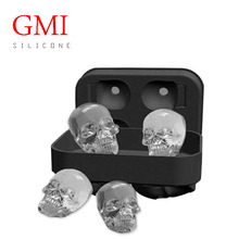 2017 newest design BPA free silicone 3D skull ice cube tray ice ball maker ice mold for halloween