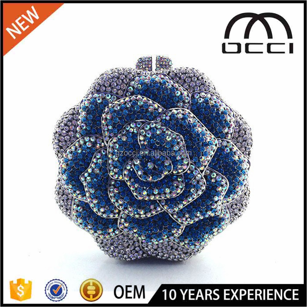 China Online Shop Ladies Crystal Rose Flower Shape Evening Clutch Bag SC2221