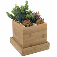 4 Inch Bamboo Square Succulent Planter Pot with Removable Tray, Mini Garden Container
