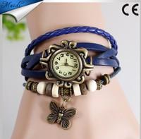 Free shipping 2015 Original High Quality Women Genuine Leather Vintage Watches,Bracelet Wristwatches Tower Butterfly Pendant