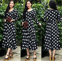 2016 Summer Fashion White Polka dot print evening dress malaysia online shopping/women's evening dress chiffon fabric