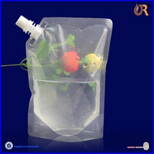 custom printing plastic juice drink spout bag/plastic screw cap bag