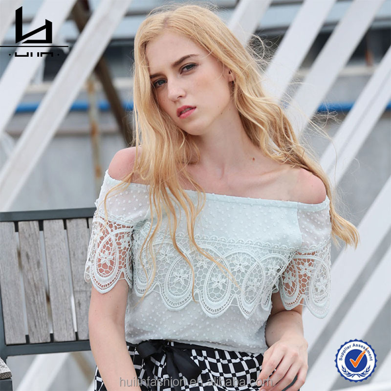 Retail Online Shopping Summer New Fashion Woman Sweet Elegant Blue Lace Off Shoulder Chiffon Blouse