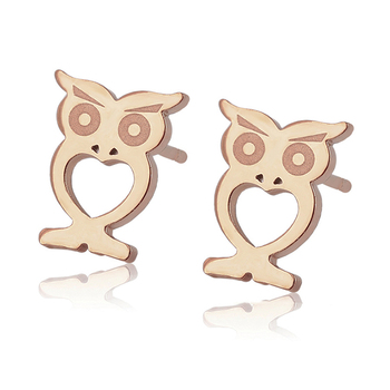 98630 Xuping stainless steel earring women, rose gold color owl shape stud earrings