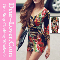 Women Casual One Piece Retro Long Sleeve Body-conscious Print Dresss