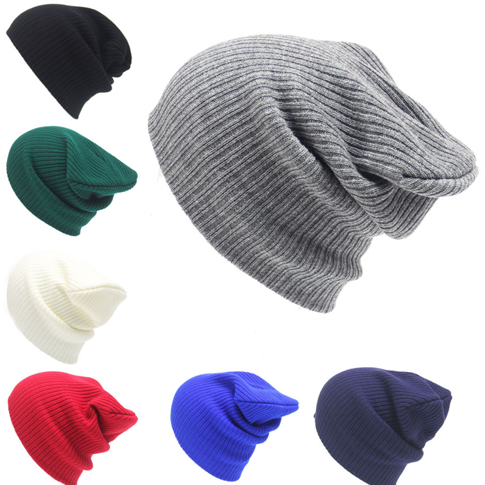 New fashion men women beanie top quality solid color hip-hop slouch knitted cap