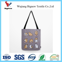 wholesale stylish funny dog yoga pattern ,cute anomals tote bags in bulk