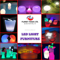 All Model Good Quality Waterproof Plastic Multi color Floating Outdoor furniture Decorative Party Chair Tables Night LED Light