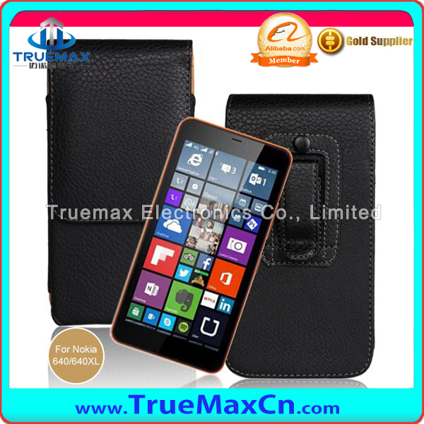 Wholesale Parts Wallet Flip Vertical Waist Bag Leather Case Fit For Nokia 640,Litchi Pattern