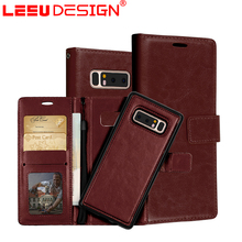 LEEU DESIGN 3 card slot universal phone wallet for samsung galaxy note 8 phone case