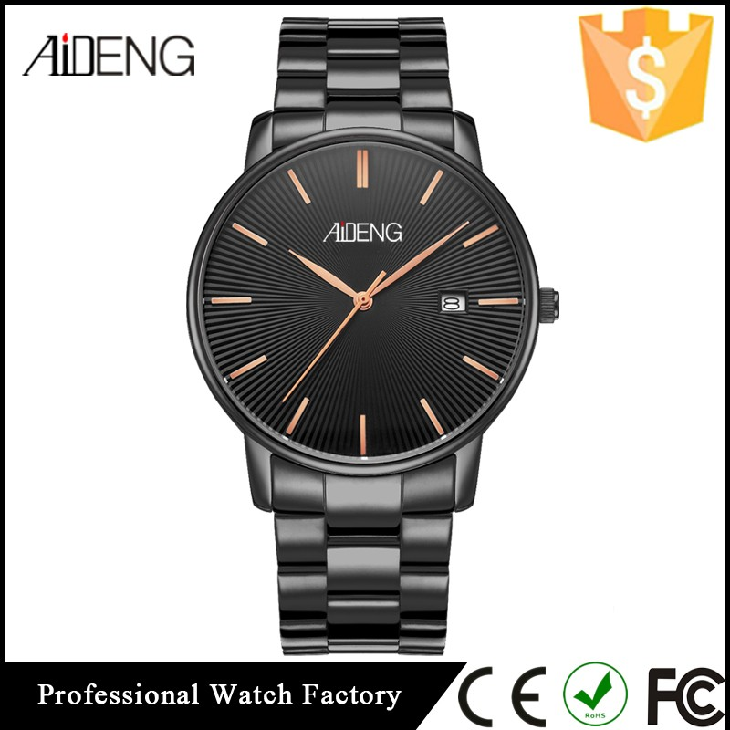 AIDENG Casual OEM Quartz Mens Watch, Stainless Steel Back Watch Case 316L, Japan Movt Quartz Watch