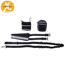 Walking Hands Free Wholesale Dog Leash with Pouch Waist Bags Reflective Waist Belt,Elastic Dog Harness