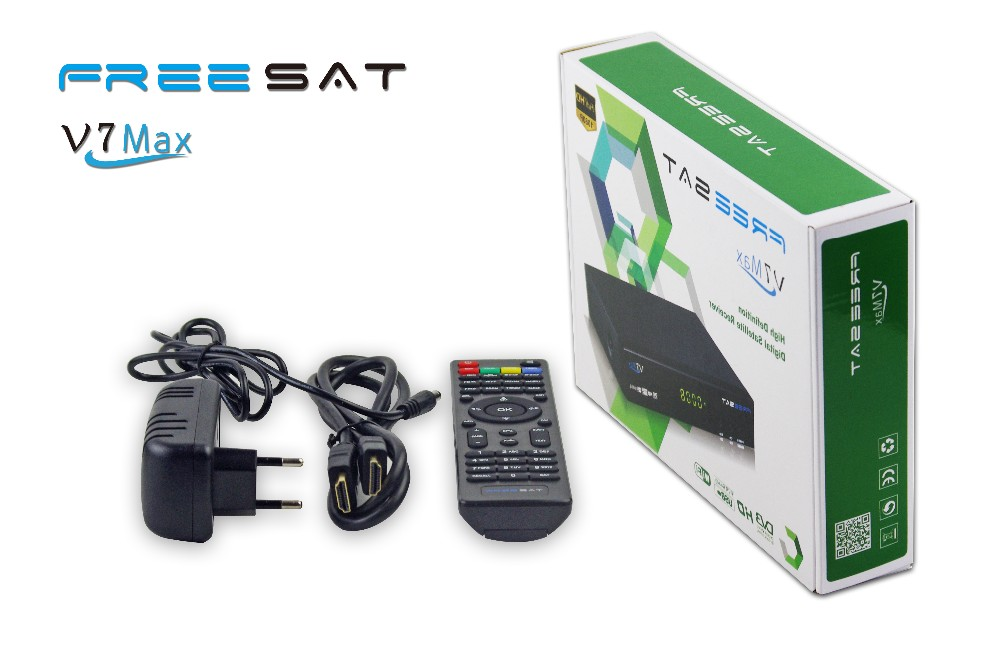 New model Freesat V7 MAX smart size metal case digital FTA-DVB-S2 satellite tv receiver support full powervu, cccam with rs232