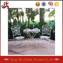 Metal Iron 3 piece Folding Bistro Table and Chairs Set