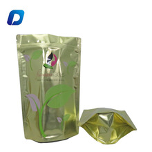 High quality foil stand up golden surface tea packaging bags pouches with zip lock