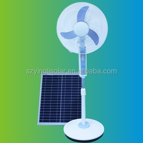 16 inch Rechargeable Portable Solar Stand Fan with Led Lamp
