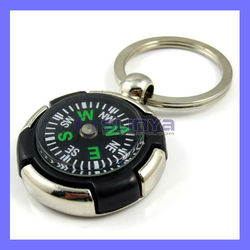 Metal Keychain Compass Luggage Portable