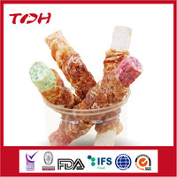 Chicken Wrap Colorful Rawhide Munchy Stick Mixed Food Pet Food For Dog
