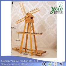 Customized High Quality Bamboo Flower Corner Shelf with windmill shape