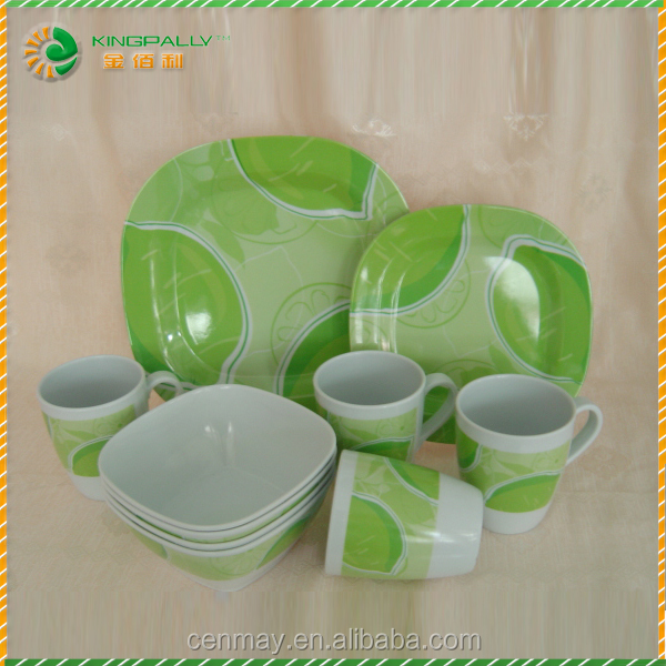 eco friendly Outdoor Food Grade Plastic Melamine Square 16pcs Dinner Set Hot Selling