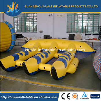 Wholesale 0.9mm PVC material inflatable banana boat inflatable water toys flying fish for 10 persons