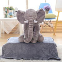 baby bedroom decoration foldable micro plush air condition elephant pillow blanket
