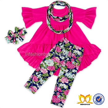 Hot Pink Ruffle Tunic Navy Flower Leggings 4 pc Outfit Wholesale Children Boutique Clothing