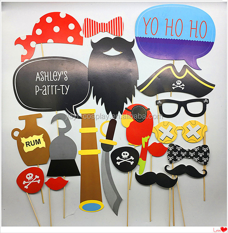 Pirate Party Supplies Photo Booth Props for Kids Birthday Party Decorations