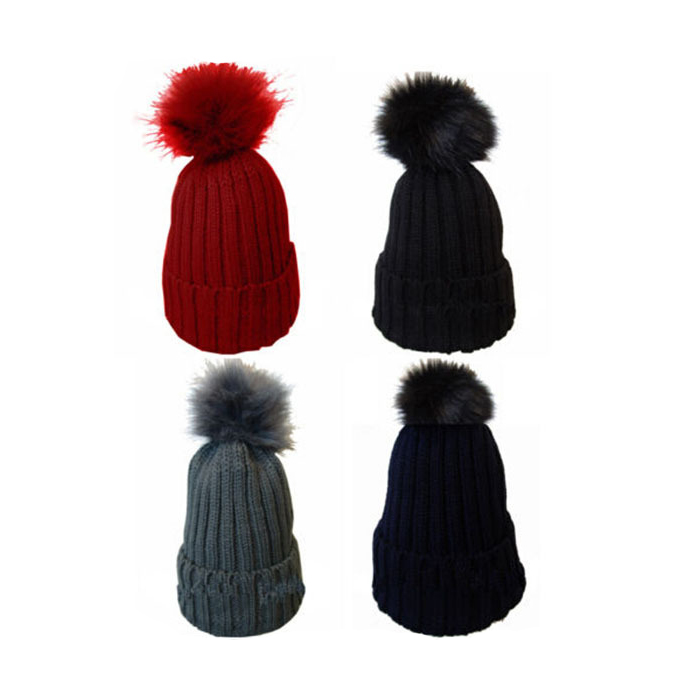 Ladies Soft Knitted Beanie Faux Fur Ski Winter Pom Pom Hats