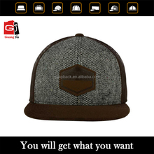 Custom 100% cotton washed trucker hat/design your logo leather patch flat brim snapback trucker cap