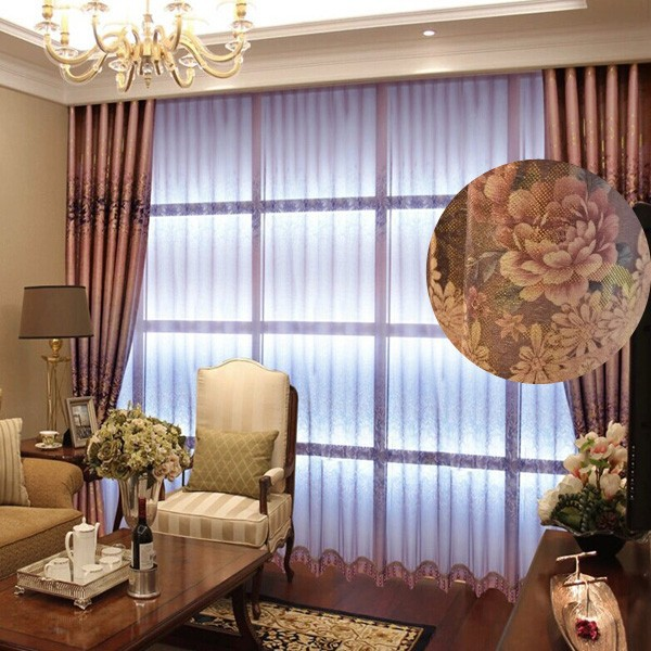 Unique Custom Blackout Curtain Polyester Floral Print Eyelet Curtain