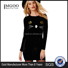 MGOO OEM Services Cute Cartoon Cat Embroidery Women Dress Long Sleeves Black Bodycon Mini Dress 153518417