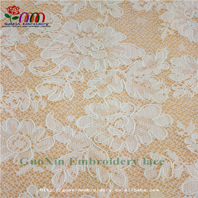 Guangzhou manufacturer wholesale chantilly lace fabric embroidery lace fabric