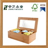 High quality unfinished handmade wooden bamboo tea bag box chest with plexiglass lid