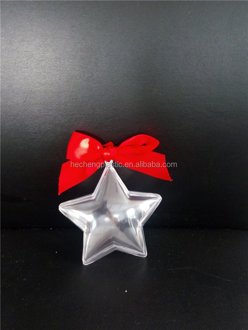 Plastic Transparent Star Wedding Ornament Baubles Christmas Plastic Decorate Handmade Christmas Ball
