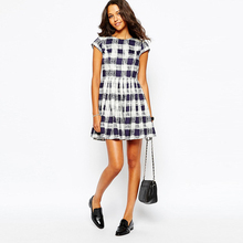 Boutique púrpura Plaid skater vestido