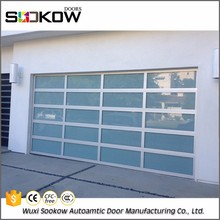 Decorative full view universal remote control commercial sale frosted glass double car garage door