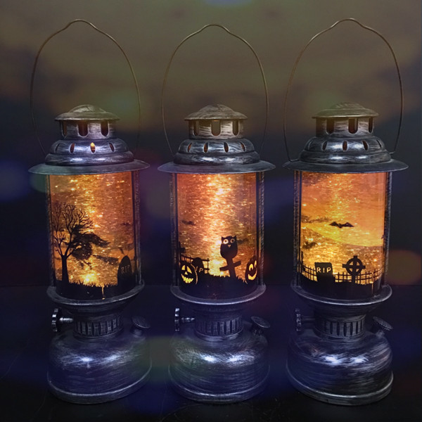 Metal Plastic Battery Operated Led Lighted Vintage Water Handheld Hanging Halloween Lantern