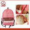 Fashion designer brown leather lace trim pink college book bags