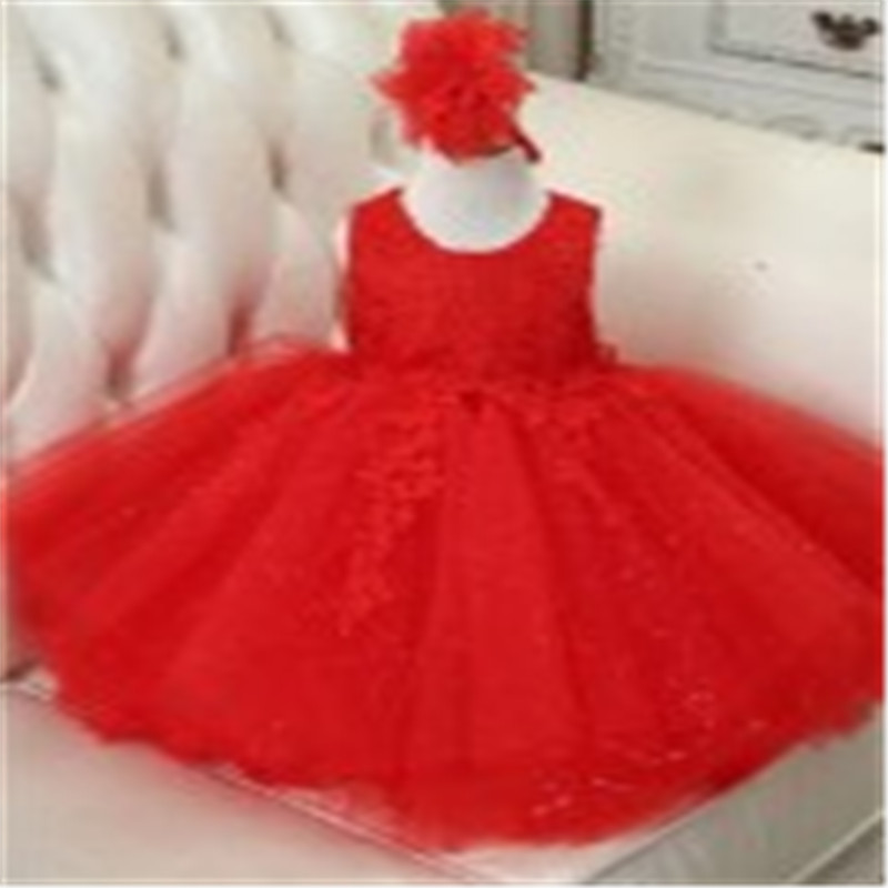 1 Years Old Baby Birthday Party Dress Pink Flower Girl Kid Puffy Dresses For Wedding