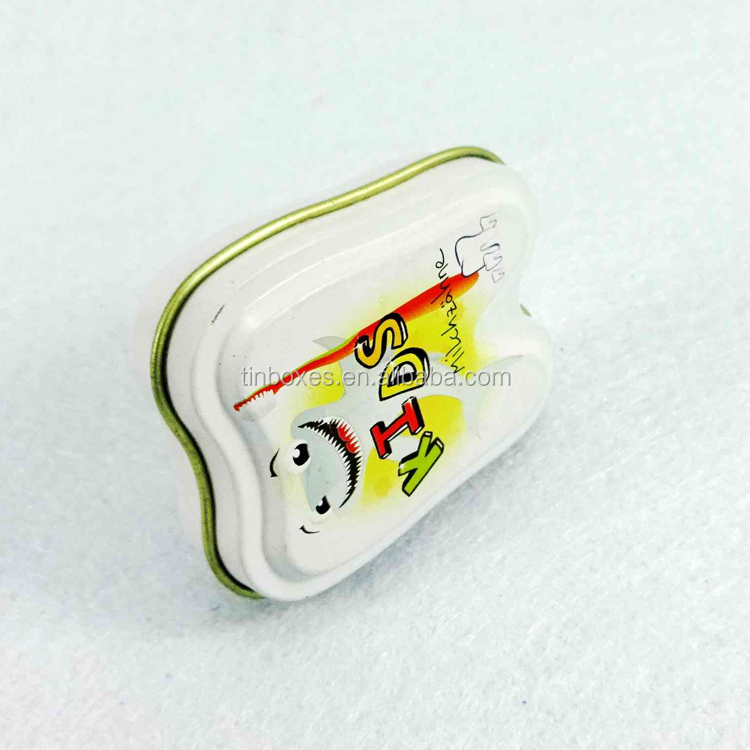 tooth shape tin box for mint candy
