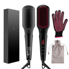 Free Heat Resistant Glove And Temperature 2 in1 Ionic MCH Heating Nova Hair Straightener With Hair Straightening Brush Price