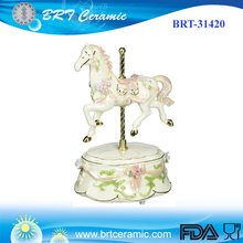 Porcelain Angel Carousel Horse Musical Figurine