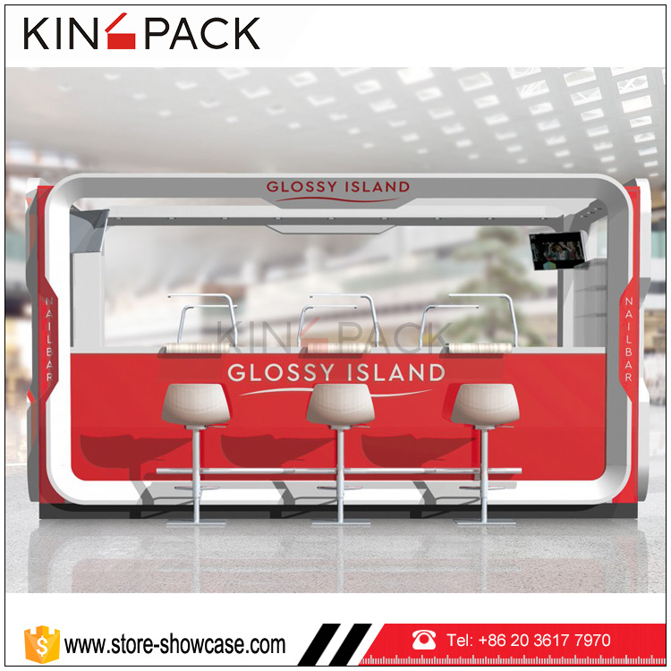 Factory price professional custom nail mall kiosk manufacturers for sale retail store kiosk display furniture