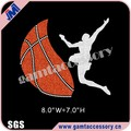 Wholesale Basketball iron on Rhinestone transfer design for T-shirt