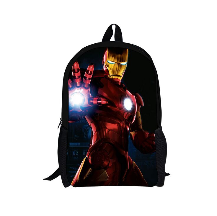(New Gift) 2017 Stylish Cotton Carton Backpack School Bag, New Pattern Iron-man Backpack, Popular Boys Schoolbag