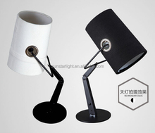 Adjustable Single Head Modern Table Lamp Black Metal Light Body With Fabric Shade Table Desk Light