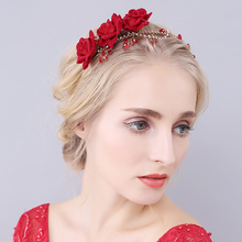 Delicate red rose Jewelry <strong>Headband</strong> Wedding Hair Accessories Handmade Floral Bridal Headpiece Women <strong>Headbands</strong>